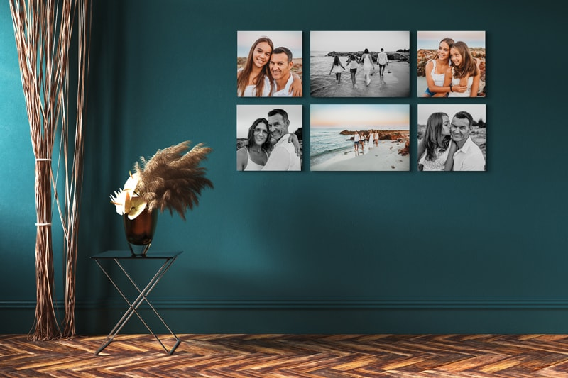 London Family Photographer, wall mockup of 6 images in frames