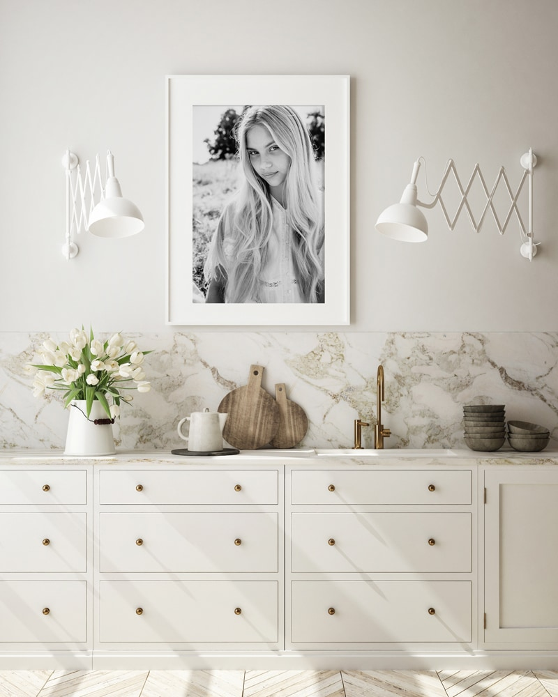 London Family Photographer, white bedroom mockup photo